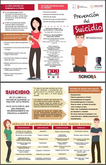 Llama Salud Sonora a observar señales para prevenir suicidio.